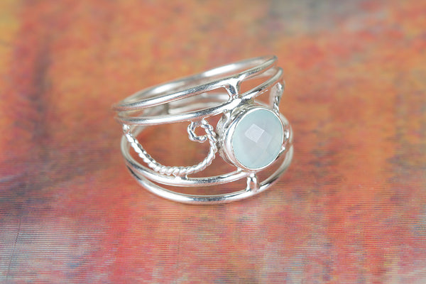 Faceted Aqua Chalcedony Gemstone Sterling Silver Ring