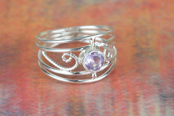 Stunning Faceted Amethyst Gemstone 925 Silver Ring