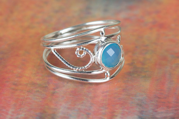 Amazing Faceted Blue Chalcedony Gemstone Sterling Silver Ring,