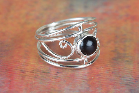 Black Onyx Ring 925 Silver Dainty Ring Casual Ring Delicate Ring Casual Ring Boho Band Ring Party Wear Ring July Birthstone Ring Wedding Gift Her
