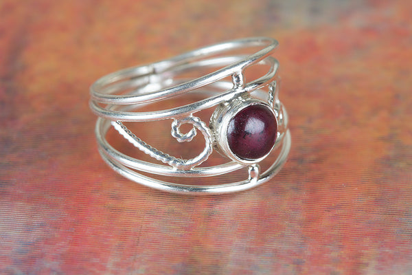 Stunning Garnet Gemstone Sterling Silver Ring,
