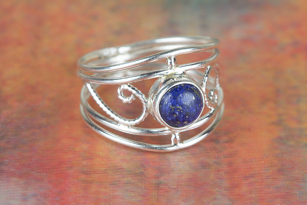 Lapis Lazuli Ring, 925 Silver, Statement Ring, Boho Band Ring, Gypsy Ring, Latest Ring, Alternative Ring, Vintage Ring, Special Occasion Ring, Delicate Ring, Charm Ring, Stylish Design Ring, Alternative Ring, Wedding Ring, Girlfriend Ring. Gift