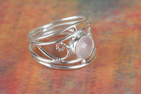 Amazing Faceted Rose Quartz Gemstone Silver Ring