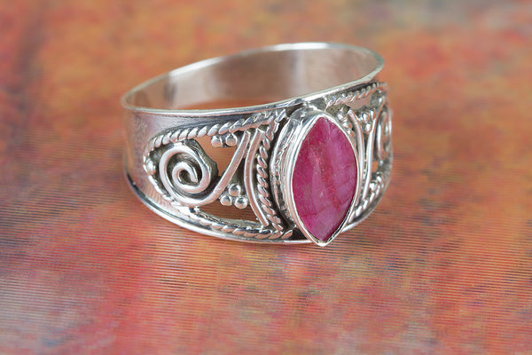 Ruby Ring, 925 Sterling Silver, Wedding Ring, Religious Ring, Birthstone Jewelry, Mermaid Gift, Alternative Ring, Gift Her