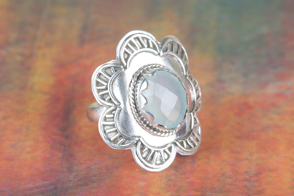 Wonderful Aqua Chalcedony Gemstone Sterling Silver Ring