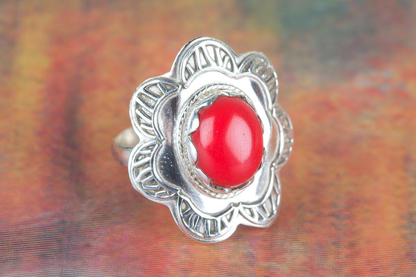 Wonderful Coral Gemstone Sterling Silver Ring