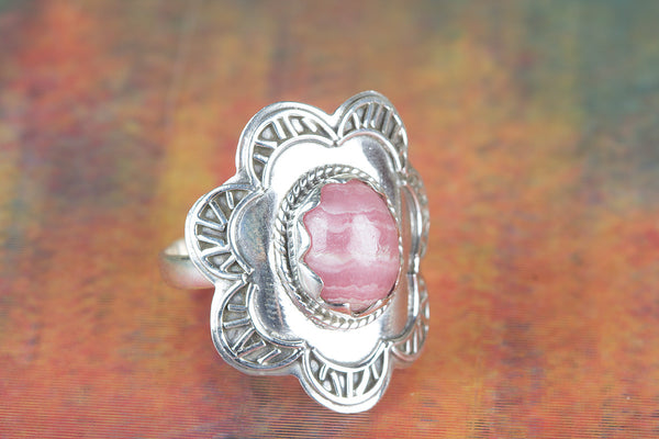 Wonderful Rhodochrosite Gemstone Sterling Silver Ring