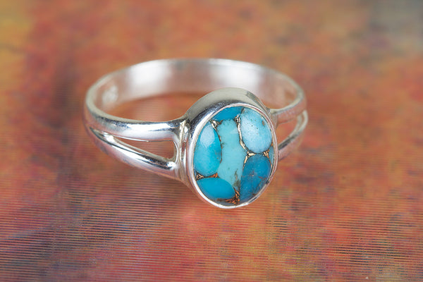 Stunning Blue Copper Turquoise Gemstone Sterling Silver Ring,