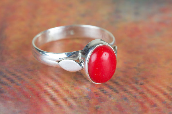 Sterling Coral Gemstone Silver Ring