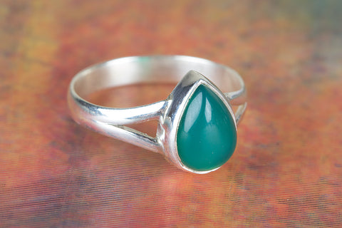 Green Onyx Gemstone Sterling Silver Ring
