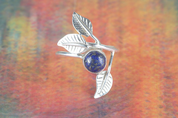 Leaf Shape Lapis Lazuli Ring, 925 Silver, Adjustable Ring, Elegant Ring, Gypsy Ring, Alternative Ring, Charm Ring, Stylish Design Ring, Alternative Ring, Bohemian Ring, Artisan Ring, Eye Catch Ring, Attractive Ring, Wedding Ring, Gift Her.