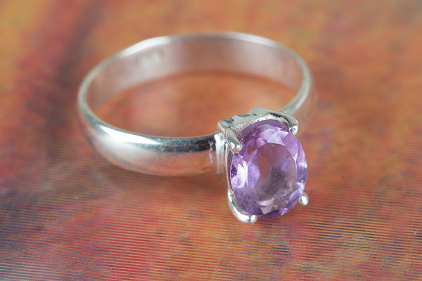 Faceted Amethyst Gemstone Silver Ring