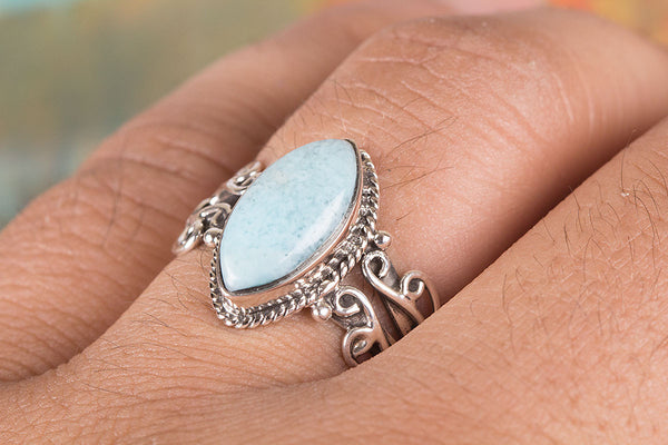 Gorgeous Larimar Gemstone Sterling Silver Ring,