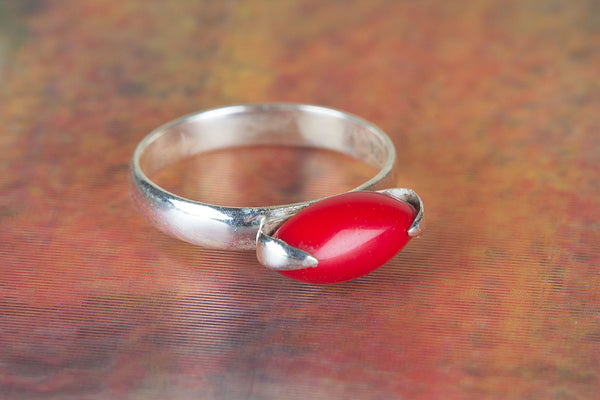 Awesome Coral Gemstone Sterling Silver Ring,