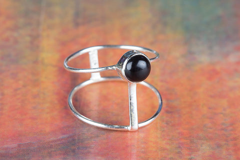 Black Onyx Ring 925 Silver Dailty Ring Alternative Ring Gypsy Ring Bohemian Ring Black Ring Casual Ring Statement Ring Elegant Ring Everyday Ring Classic Ring Engagement Ring Gift Her