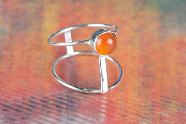 Charming Carnelian Gemstone Sterling Silver Ring,