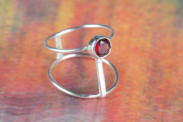 Stunning Faceted Garnet Gemstone Sterling Silver Ring