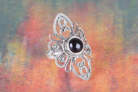 Black Onyx Ring 925 Silver Antique Designer Ring Eye Catch Ring Elegant Ring Black Ring Special Occasion Ring Chunky Ring Yoga Ring Stylish Ring Gift Her