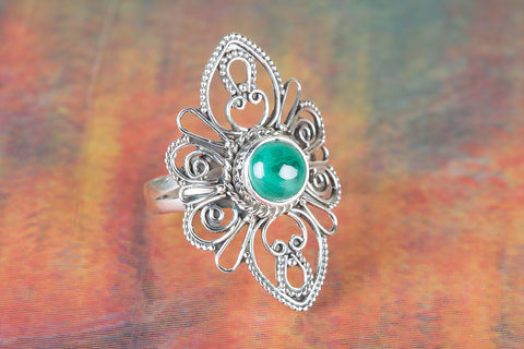 Wow Malachite Gemstone Sterling Silver Ring