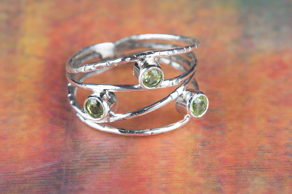 Faceted Peridot Gemstone Sterling Silver Ring,