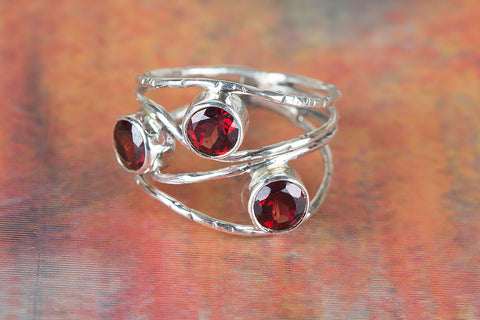 Wow Faceted Garnet Gemstone Sterling Silver Ring