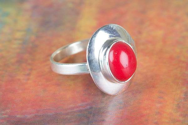 Coral Gemstone Sterling Silver Ring,
