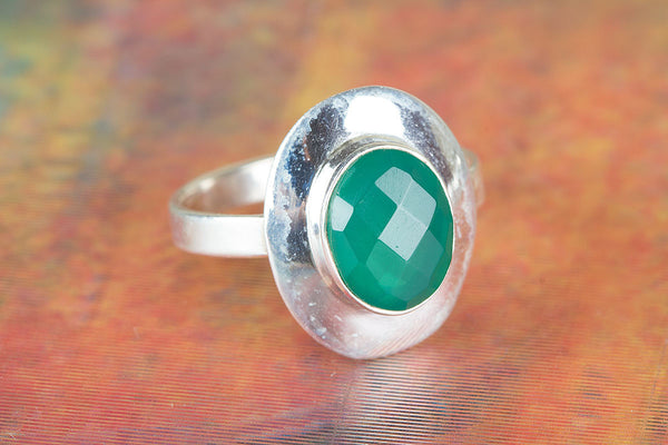 Wow Handmade Faceted Green Onyx Gemstone Ring