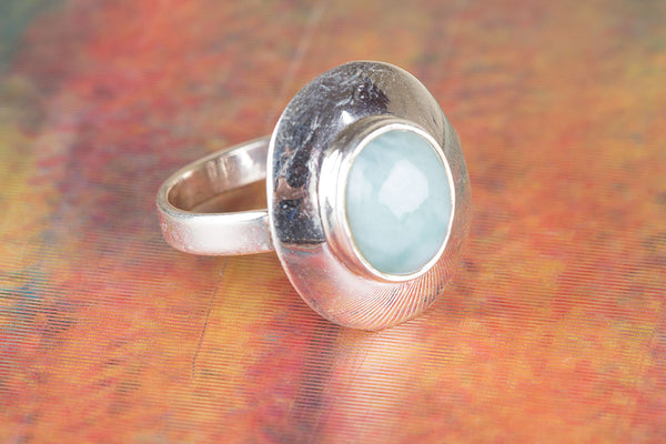 Larimar Ring 925 Silver Stacking Ring Republic Dominican Ring Stylish Ring Casual Ring Classic Ring Rare Ring Elegant Ring Everyday Ring Purpose Ring Unique Ring Inspirational Ring Wedding Ring Gift Her