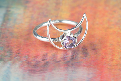 Wow Faceted Amethyst Gemstone Sterling Silver Ring