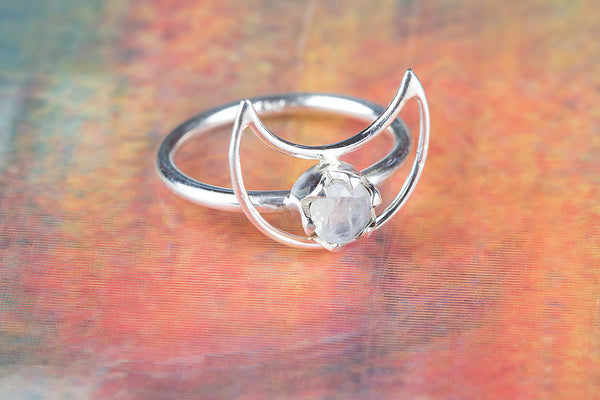 Moon Shape Rainbow Moonstone Sterling Silver Ring,