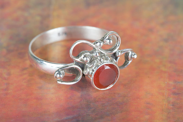 Faceted Carnelian Gemstone Sterling Silver Ring,