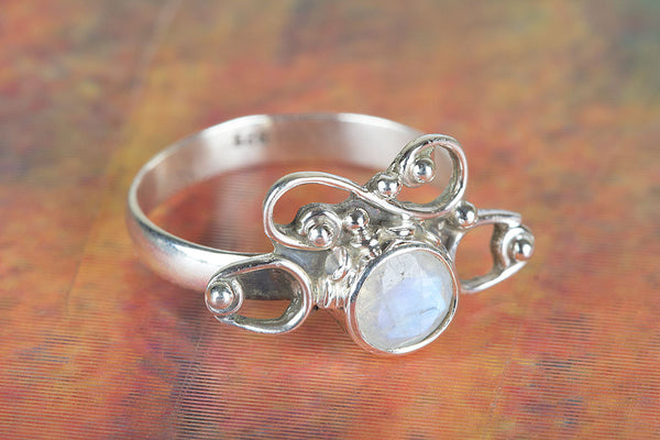 Faceted Rainbow Moonstone Ring, 925 Sterling Silver Ring,Bridal Shower, Engagement Ring, Proposal Ring, Boho Gift