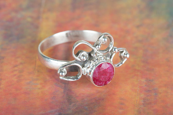 Amazing Ruby Gemstone Sterling Silver Ring