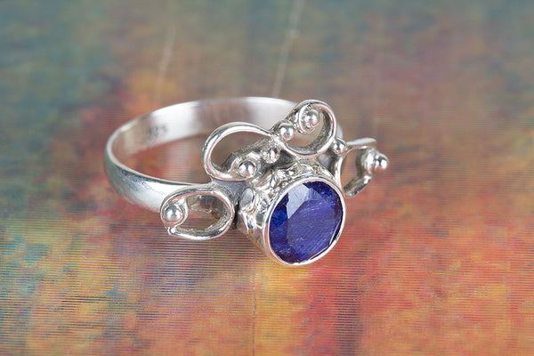 Charming Sapphire Gemstone Sterling Silver Ring,