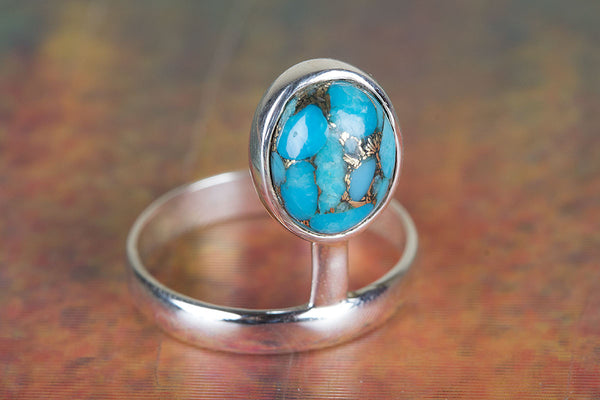 Blue Copper Turquoise Gemstone Sterling Silver Ring