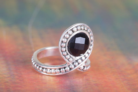 Black Onyx Ring 925 Silver Elegant Ring Petite Love Ring Artisan Ring Boho Ring Casual Ring Granulation Ring Latest Design Ring Exclusive Ring Gypsy Ring Daily Wear Ring Bridesmiad Ring Purpose Ring Girlfriend Ring Gift her