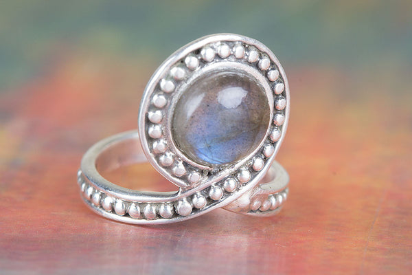 Labradorite Ring, 925 Sterling Silver, Blue stone Ring, Attract Ring, Vintage Ring, Party Wear Ring, Healing Ring, Wedding Ring, Antique Gypsy Ring, Adjustable Ring, Wedding Ring, Gift Her