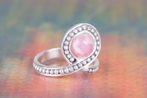 Amazing Rhodochrosite Gemstone Silver Ring