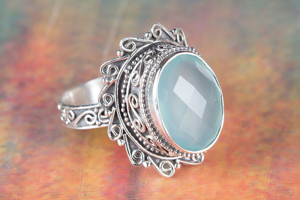 Beautiful Faceted Aqua Chalcedony Gemstone Sterling Silver Ring,