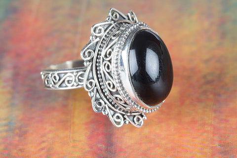 Black Onyx Ring 925 Silver Alternative Ring Bohemian Ring Casual Ring Eye Catch Ring Statement Ring Exclusive Ring Vintage Ring Granulation Ring Motivational Ring Engagement Ring Rare Ring Gift her