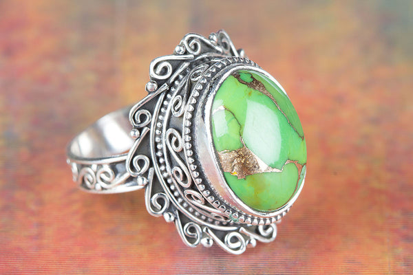 Green Turquoise Ring 925 Silver Elegant Ring Eye Catch Ring Healing Ring Modern Designer Ring Rare Ring casual Ring Antique Design Ring Engagement Ring Gift Her.
