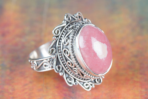 Beautiful Rhodochrosite Gemstone Sterling Silver Ring,