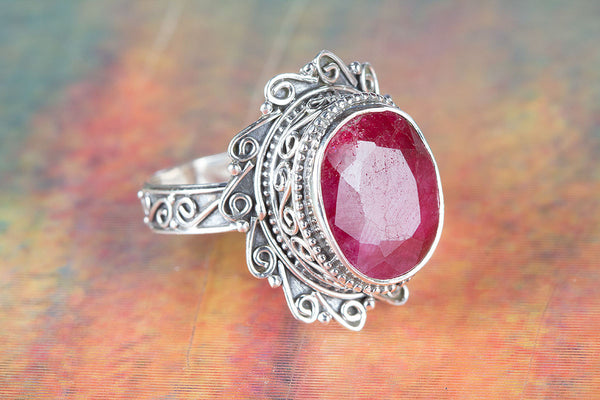 Beautiful Ruby Gemstone Sterling Silver Ring