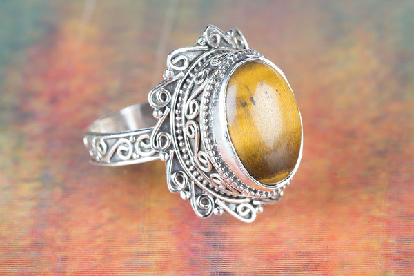 Tiger Eye Ring, 925 Silver, Dainty Ring, Petite Ring, Daily Wear Ring, Charm Ring, Delicate Ring, Gypsy Ring, Statement Ring, Eye Catch Ring, Attractive Ring, Inspirational Ring, Victorian Ring, Wedding Ring, Girlfriend Ring, Gift Her