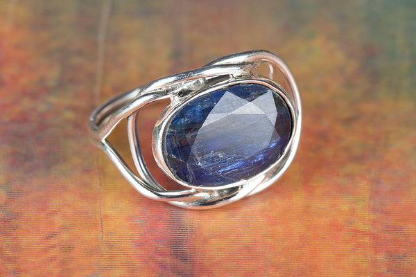 Wonderful Faceted Kyanite Gemstone Sterling Silver Ring