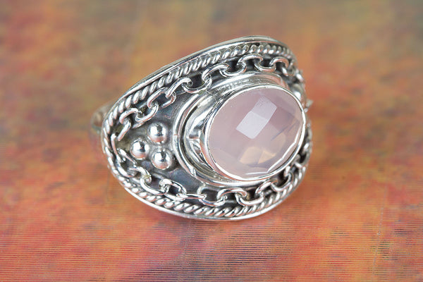Wonderful Faceted Rose Quartz Gemstone Sterling Silver Ring