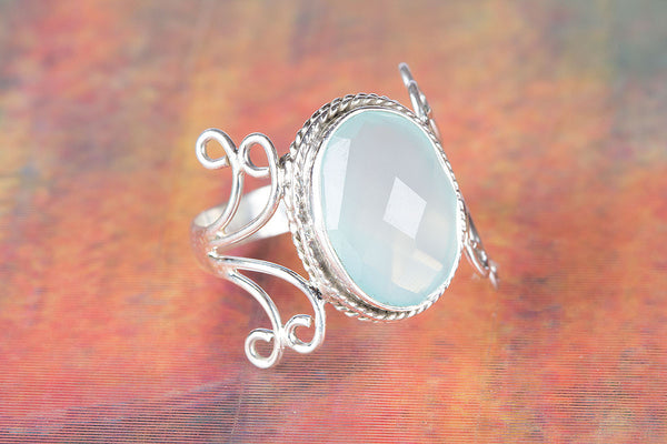 Wonderful Faceted Aqua Chalcedony Gemstone Silver Ring