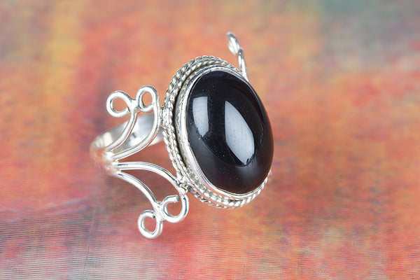 Wonderful Black Onyx Gemstone Sterling Silver Ring