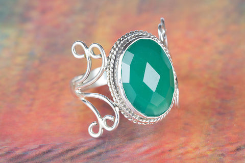 Wonderful Green Onyx Gemstone Sterling Silver Ring