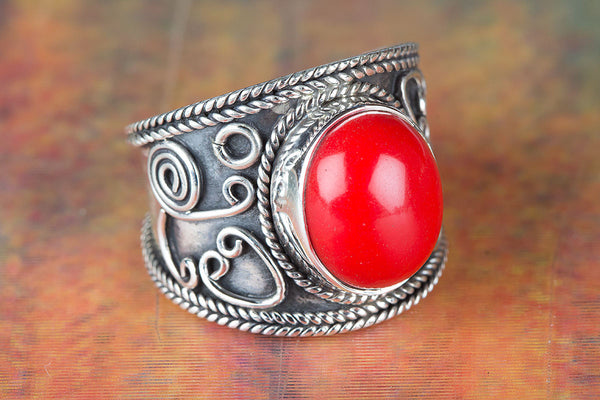 Coral Ring 925 Silver Trendy Ring Gypsy Ring Wide Band Ring Designer Ring Rare Ring Red Color Ring  Bride Ring Bohemian Ring Engagement Ring Gift Her